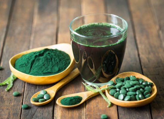 Healthy spirulina drink in the glass